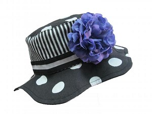 Black White Dot Sun Hat with Lavender Large Geraniums