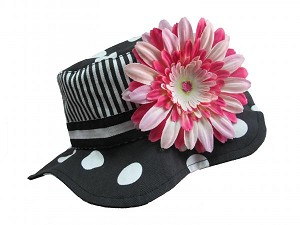 Black White Dot Sun Hat with Pink Raspberry Daisy