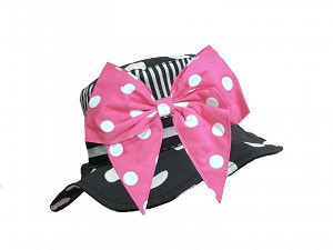 Black White Dot Sun Hat with Pink White Bow-Rae-Mi