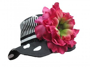Black White Dot Sun Hat with Raspberry Large Peony