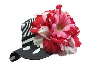Black White Dot Sun Hat with Red Pink Large Peony