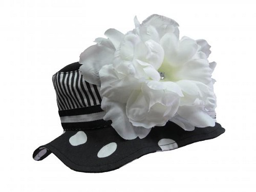 Black White Dot Sun Hat with White Large Peony