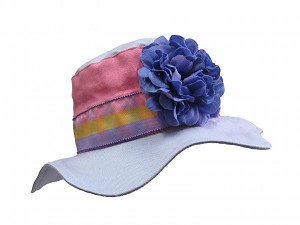 Lavender Gingham Sun Hat with Lavender Large Geraniums