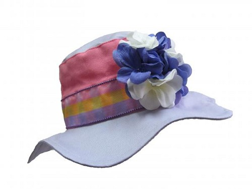 Lavender Gingham Sun Hat with Lavender White Large Geraniums