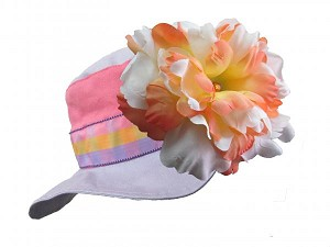 Lavender Gingham Sun Hat with Orange White Large Peony