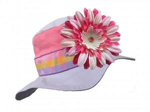 Lavender Gingham Sun Hat with Pink Raspberry Daisy