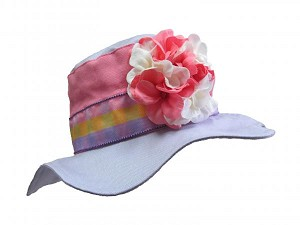 Lavender Gingham Sun Hat with Pink White Large Geraniums