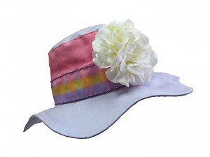 Lavender Gingham Sun Hat with White Large Geraniums