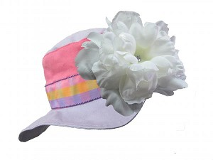Lavender Gingham Sun Hat with White Large Peony