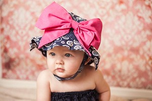 Navy Blue Sun Hat with Candy Pink Bow-Rae-Mi