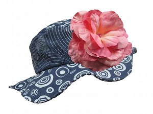 Navy Blue Sun Hat with Candy Pink Large Rose