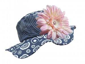 Navy Blue Sun Hat with Pale Pink Daisy