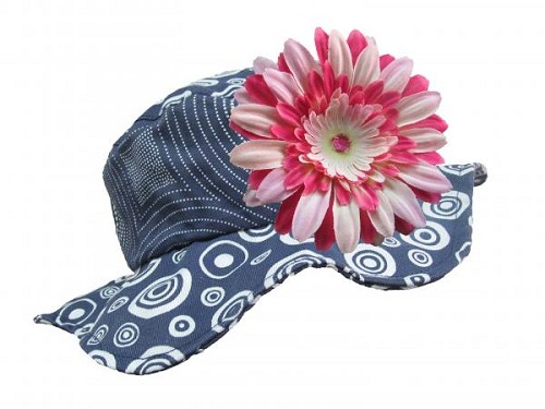 Navy Blue Sun Hat with Pink Raspberry Daisy