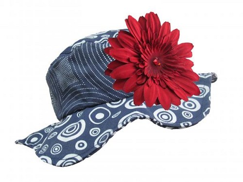 Navy Blue Sun Hat with Red Daisy