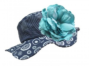 Navy Blue Sun Hat with Teal Large Rose
