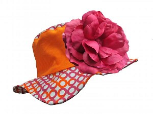 Orange Sun Hat with Raspberry Large Rose
