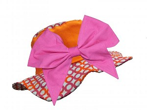 Orange Circle Sun Hat with Candy Pink Bow-Rae-Mi