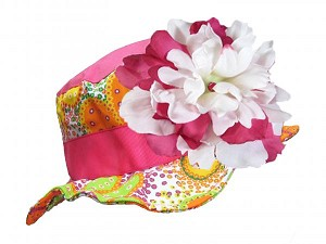 Orange Floral Sun Hat with White Raspberry Large Peony