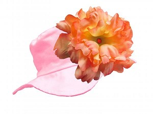 Pale Pink Sun Hat with Orange Large Peony