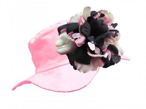 Pale Pink Sun Hat with Pink Black Large Peony