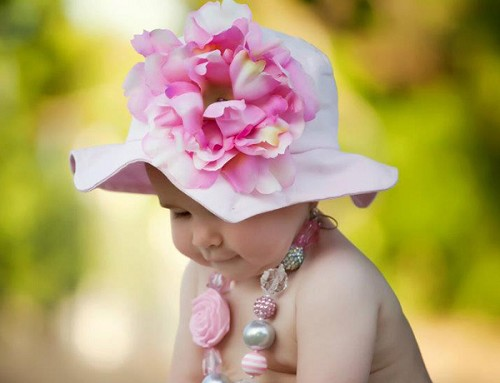 Pale Pink Sun Hat with Pale Pink Large Peony