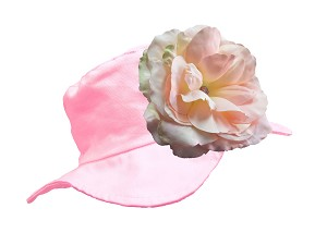 Pale Pink Sun Hat with Pale Pink Large Rose