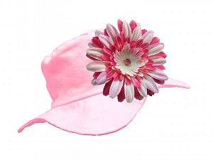 Pale Pink Sun Hat with Pink Raspberry Daisy