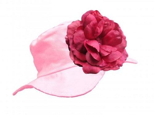 Pale Pink Sun Hat with Raspberry Large Rose