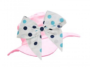 Pale Pink Sun Hat with Teal Bow-Rae-Mi