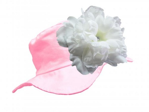 Pale Pink Sun Hat with White Large Peony