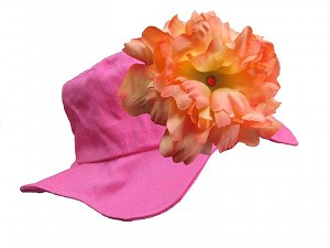 Raspberry Sun Hat with Orange Large Peony
