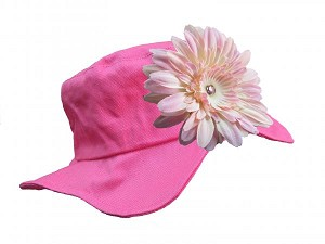 Raspberry Sun Hat with Pale Pink Daisy