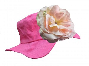 Raspberry Sun Hat with Pale Pink Large Rose