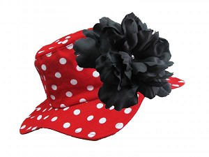 Red Sun Hat with Black Large Peony