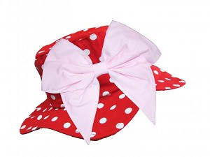 Red Dot Sun Hat with Pale Pink Bow-Rae-Mi