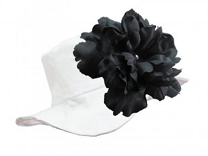 White Sun Hat with Black Large Peony