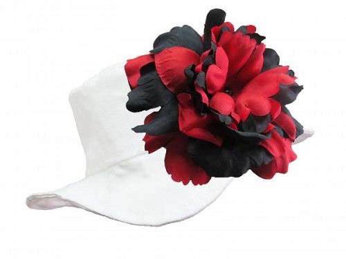 White Sun Hat with Black Red Large Peony