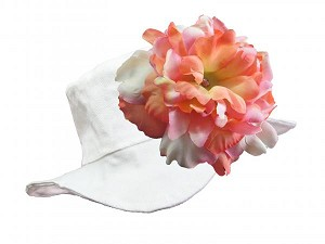 White Sun Hat with Pink Orange Large Peony
