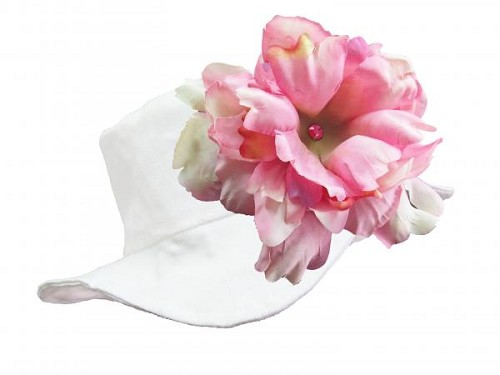 White Sun Hat with Pale Pink Large Peony
