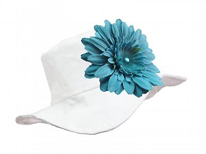 White Sun Hat with Teal Daisy
