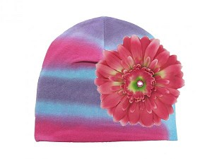 Blue Pink Purple Tie Dye Hat with Candy Pink Daisy