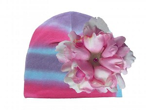Blue Pink Purple Tie Dye Hat with Candy Pink Large Peony