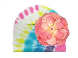 Pastel Tie Dye Hat with Candy Pink Large Rose