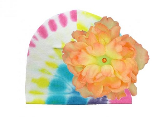 Pastel Tie Dye Hat with Orange Large Peony