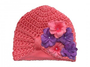 Candy Pink Tiny Turban with Purple Pink Small Geraniums