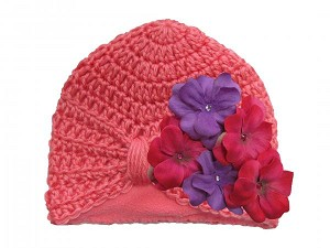 Candy Pink Tiny Turban with Purple Raspberry Small Geraniums