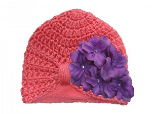 Candy Pink Tiny Turban with Purple Small Geraniums