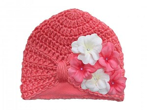 Candy Pink Tiny Turban with Pink White Small Geraniums