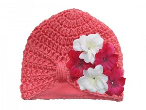 Candy Pink Tiny Turban with White Raspberry Small Geraniums