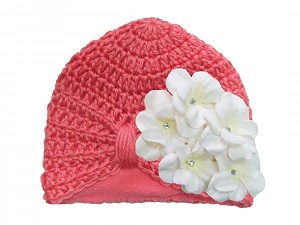 Candy Pink Tiny Turban with White Small Geraniums